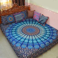 Indian Mandala Blue Shine Flower Cotton Duvet Cover