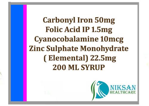 Carbonyl Iron Folic Acid Cyanocobalamine Zinc Syrup