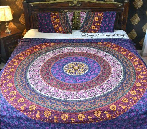 Indian Mandala Purple Cotton Duvet Cover