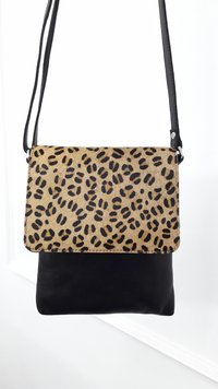 LEOPARD PRINT LEATHER LADIES HAND BAGS