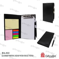 Leather Writing Memo Pad With Sticky Note
