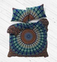 Indian Mandala Brown Round Cotton Duvet Cover