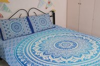 Indian Mandala Green Flower Cotten Duvet Cover