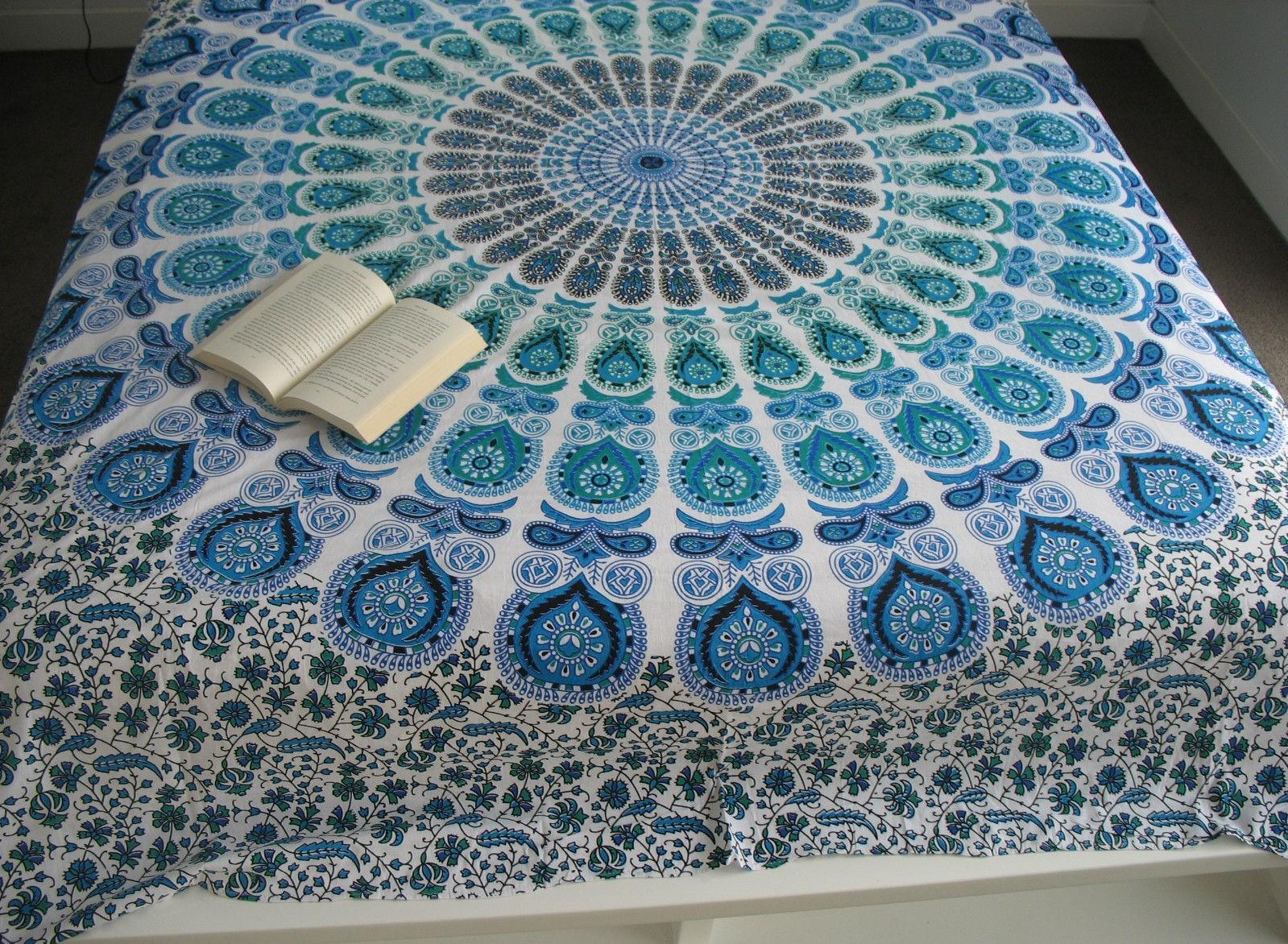 Indian Mandala Round Green Cotton Duvet Cover