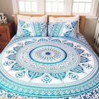 Indian Mandala Green Flower Cotten Duvet Cover