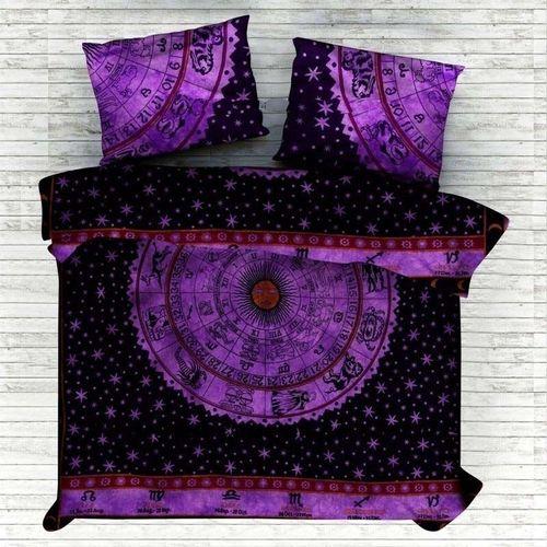 Indian Mandala Cotton Circle Purple Duvet Cover