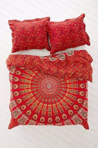Indian Mandala Red Cotton Duvet Cover