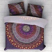 Indian Mandala Cotten Purple Round Duvet Cover