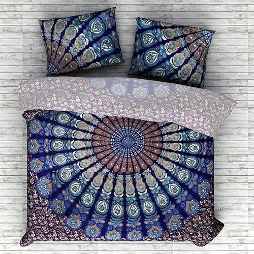 Indian Mandala Cotton Blue Circle Duvet Cover