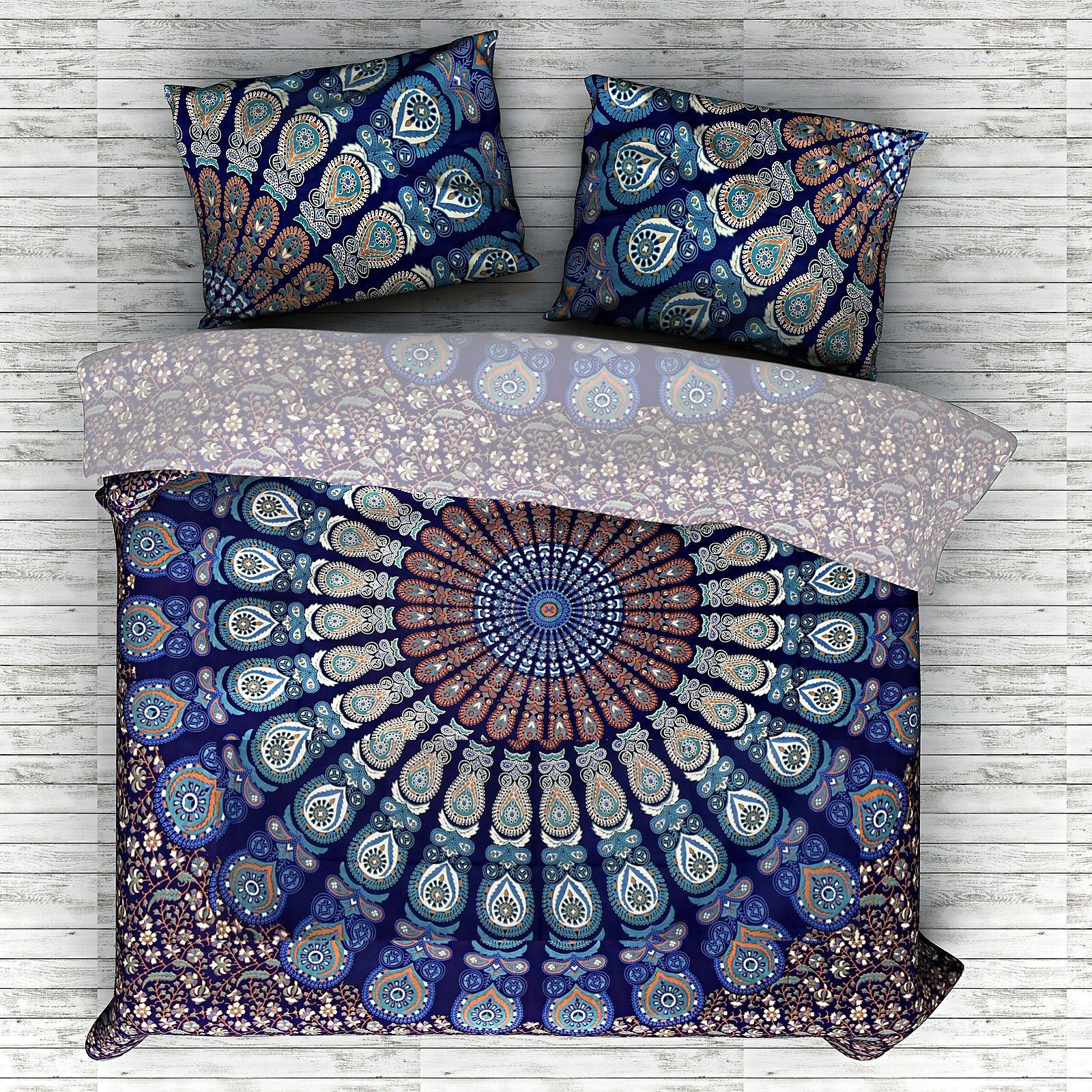 Indian Mandala Cotton Blue Circle Duvet Cover