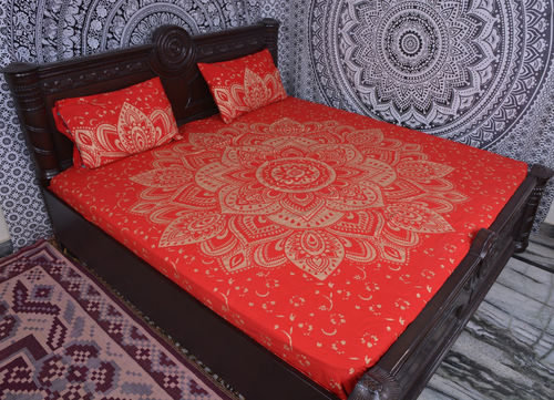 Indian Mandala Red Bold Flower Cotton Duvet Cover