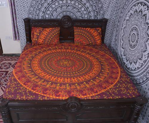 Indian Mandala Orange Round Cotton Duvet Cover