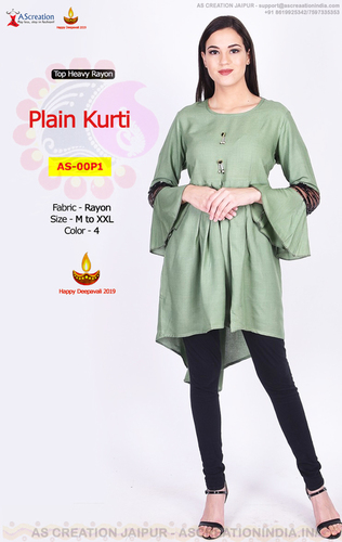 Rayon Office wear Plain Kurti for Jeans
