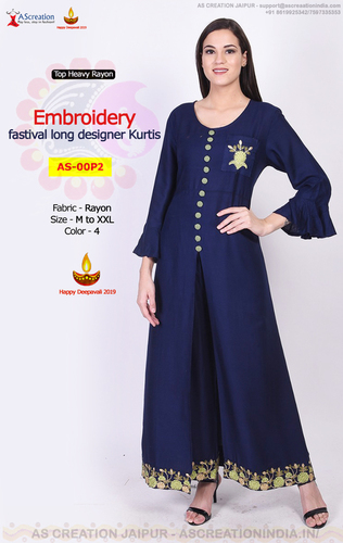 Rayon Embroidery Designer Winter Wear Kurtis