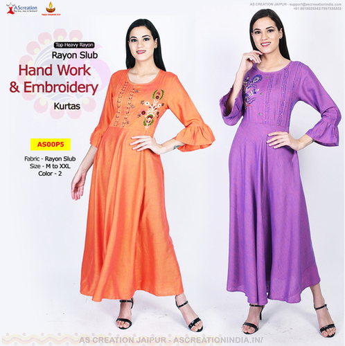 New Rayon Embroidery Designer Party Wear Kurtis in 2 Colors