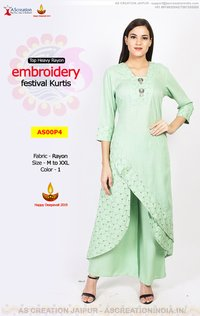 Branded Designer embroidery festival Kurtis Kurti in Rayon - Party Wear Collection