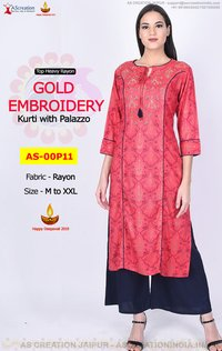 Rayon Gold embroidery Red Kurti wirh Blue Palazzo - Party wear Kurti Palazzo Set at low price