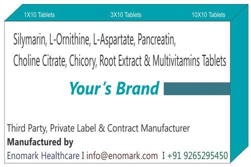 Silymarin  L-Ornithine L-Aspartate Pancreatin Choline Citrate Chicory Root Extract And Multivitamins Tablets