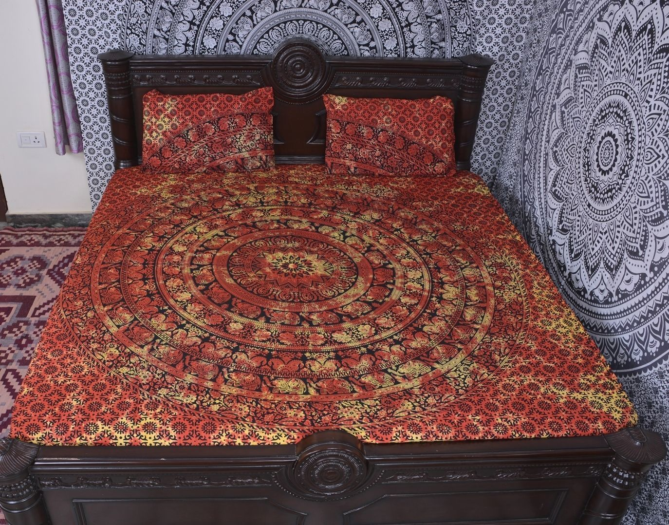 Indian Mandala Cotton Red Bold Duvet Cover