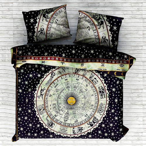 Indian Mandala Blue Sun Astro Circle Cotton Duvet Cover