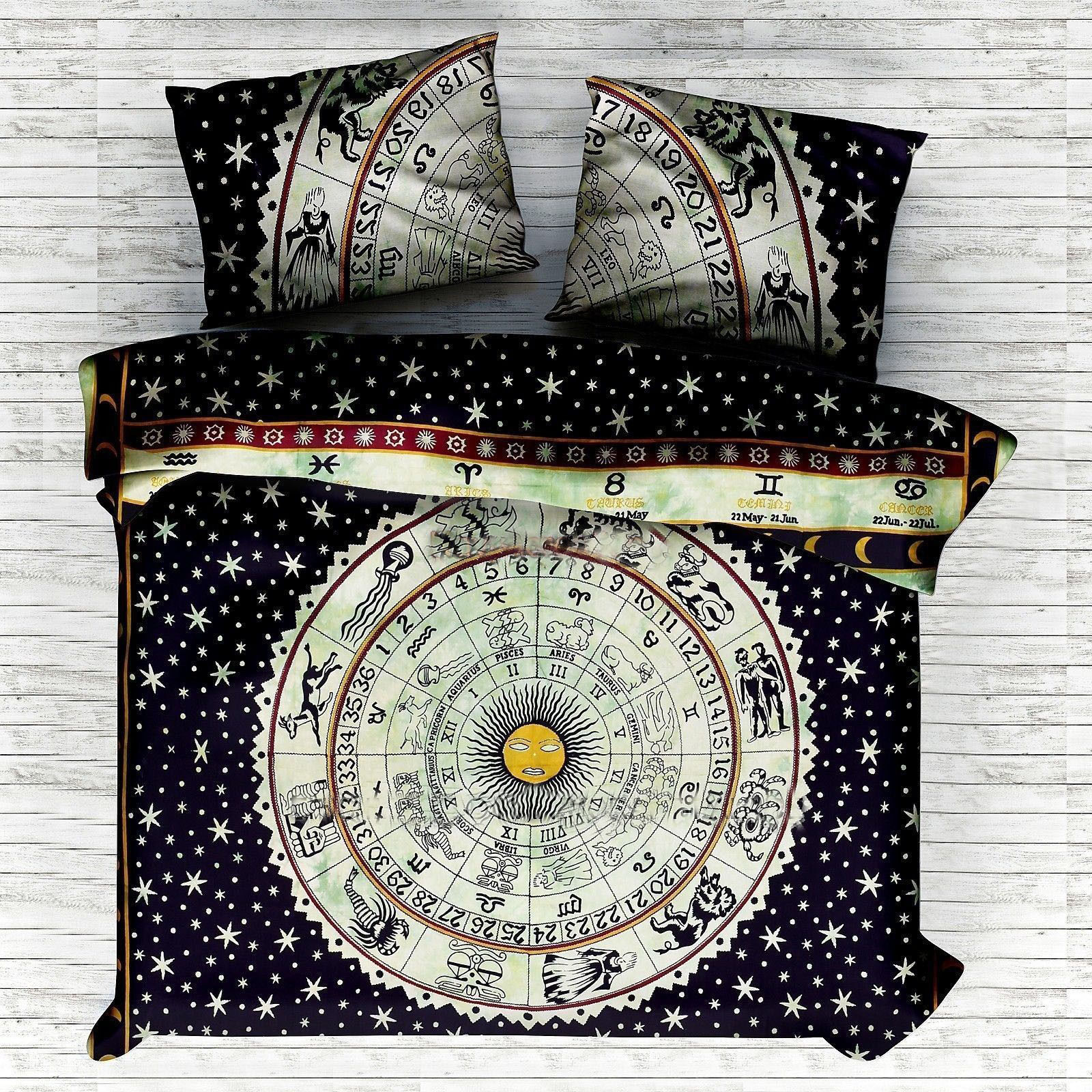 Indian Mandala Blue Sun Astro Circle Cotton Duvet Cover
