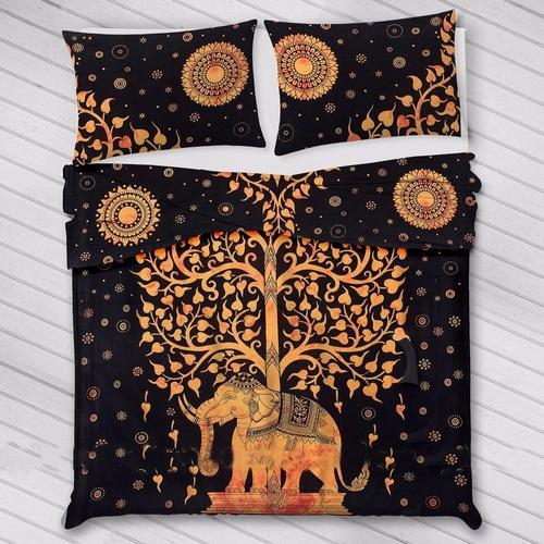 Indian Mandala Cotton Orange Elephant Tree Duvet Cover