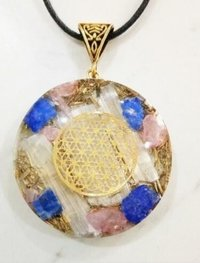 ORGONE ROSE QUARTZ LAPIS AND SELENITE WITH FLOWER OFF LIFE PENDANT