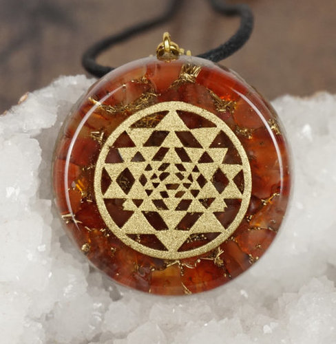 ORGONE RED CARNELIAN WITH SHREE YANTRA LOGO PENDANT