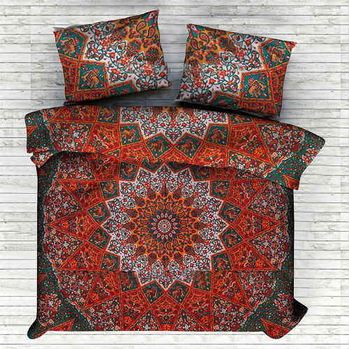 Indian Mandala Orange Small Flower Cotton Duvet Cover