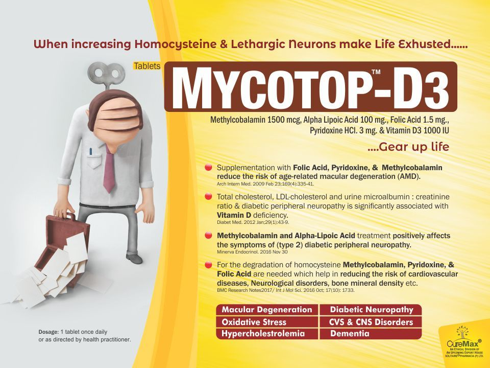 Methylcobalamin 1500 Mcg,Alpha Lipoic Acid 100 Mg,Folic Acid 1.5 Mg,Pyridoxine 3 Mg,Vit.D3 1000 I.U.