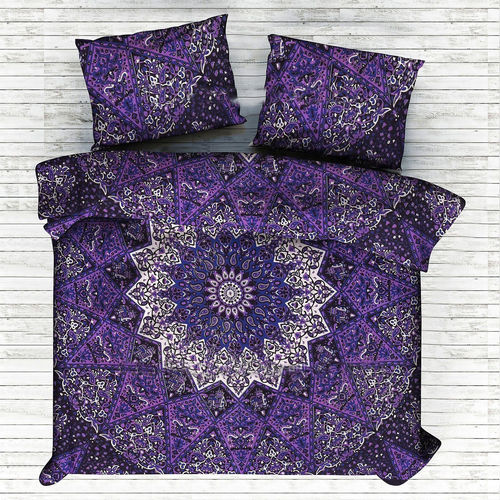 Indian Mandala Purple Small Flower Cotten Duvet Cover