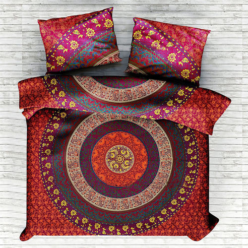Indian Mandala Cotton Red Round Duvet Cover