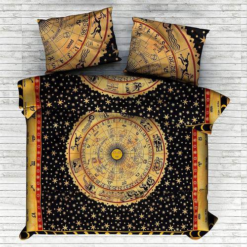 Indian Mandala Cotton Yellow Sun Duvet Cover