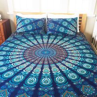 Indian Mandala Blue Round Bold Cotton Duvet Cover