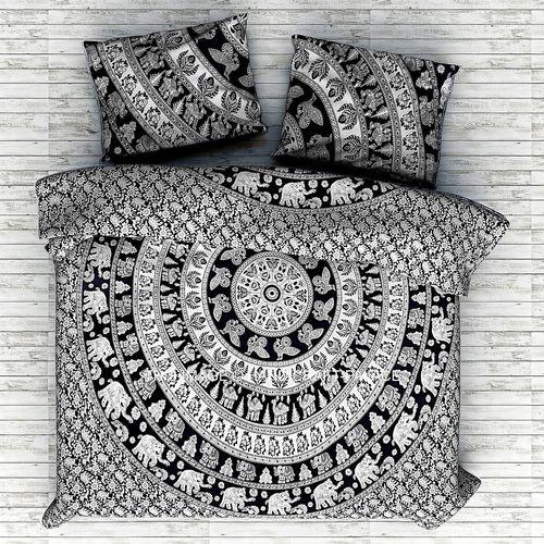 Indian Mandala Cotton Black Elephant Duvet Cover