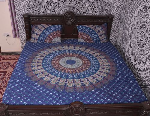 Indian Mandala Blue Round Cotton Duvet Cover