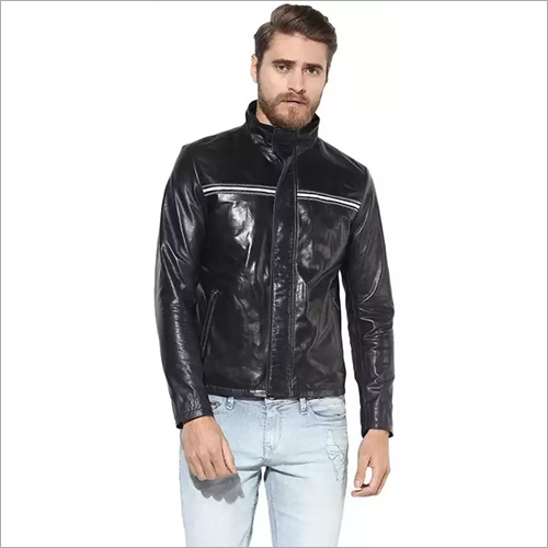 Mens Black Designer Leather Jacket