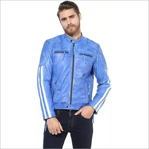 Mens Designer Leather Zipper Jacket