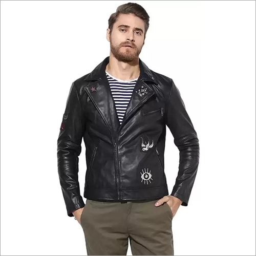 Notch Collar Men Leather Jacket