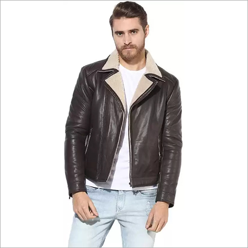Mens Shearling Lapel Collar Leather Jacket