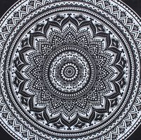 Indian Mandala Cotton Black Round Flower Duvet Cover
