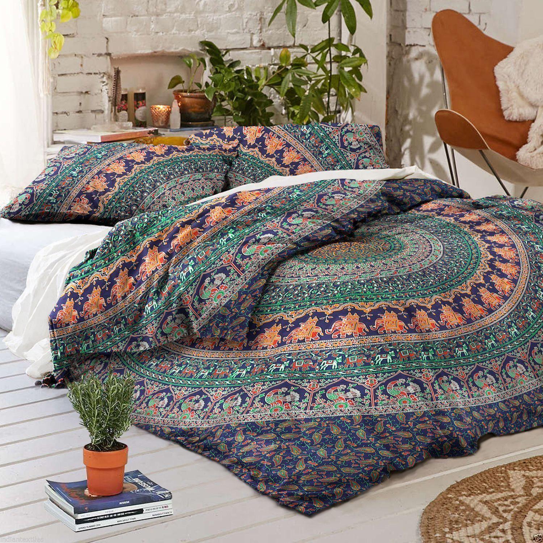 Indian Mandala Cotton Green Round Duvet Cover