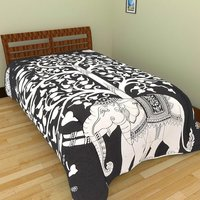 Indian Mandala Cotton white Tree Elephant Duvet Cover
