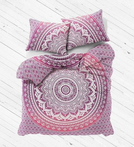 Indian Mandala Cotton Pink Flower Duvet Cover