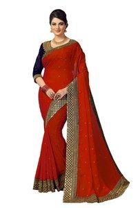 Solid Embellished Satin Silk Saree