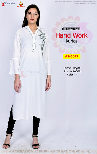 Rayon Slub Hand Work Designer Kurtis in 4 Colors