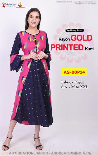 Gold Printed Kurti in Rayon - Buy Designer Party Wear Kurtis Online