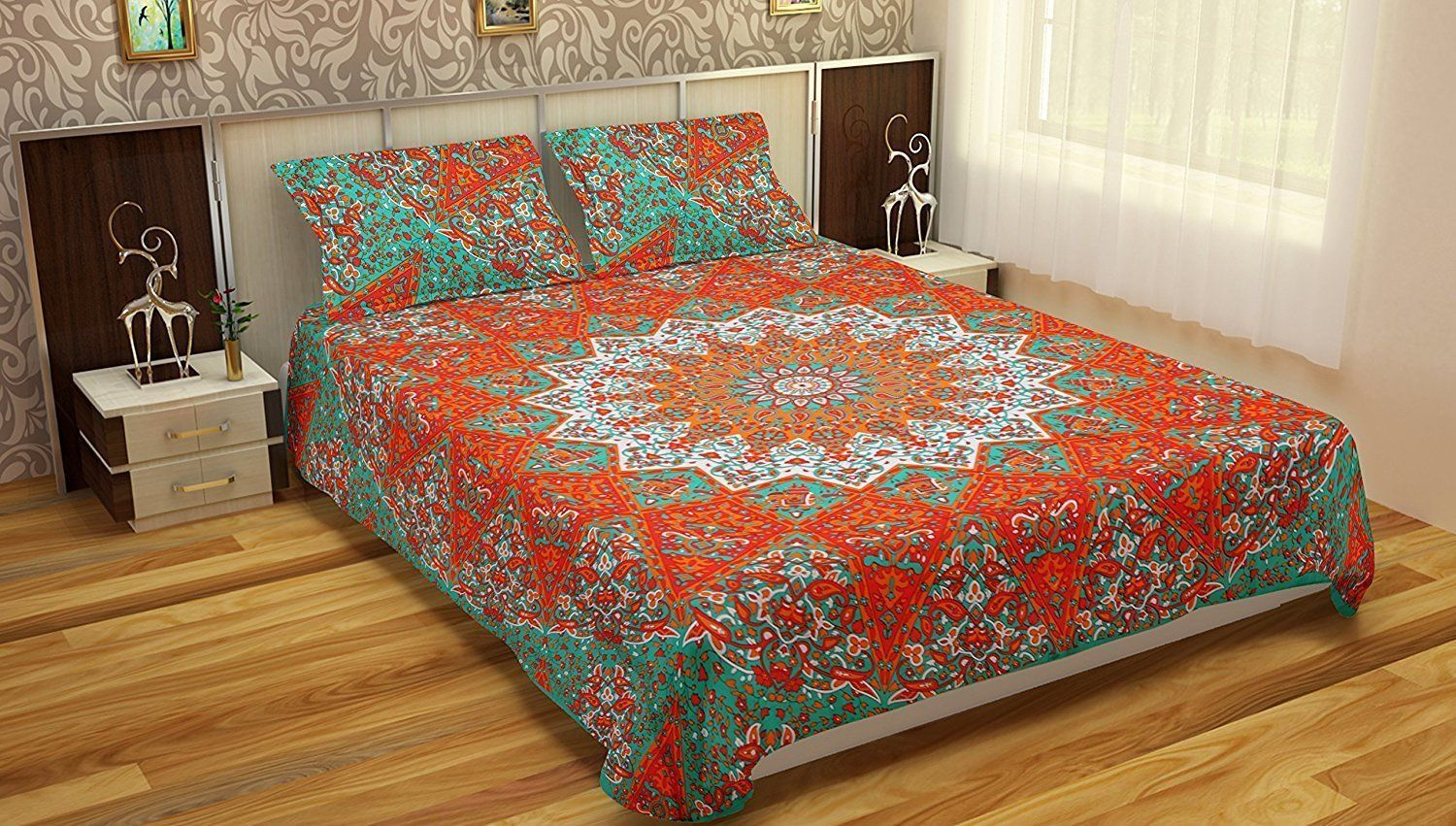 Indian Mandala Green Cotton Duvet Cover