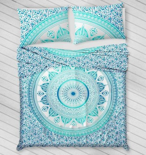 Indian Mandala Cotton Green Flower Duvet Cover