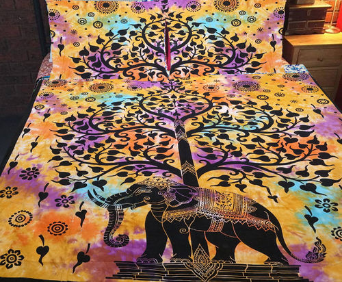 Indian Mandala Yellow Elephant Tree Cotton Duvet Cover